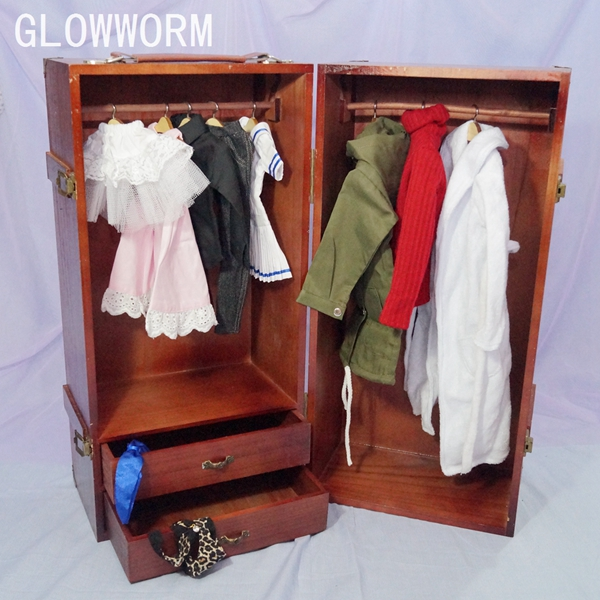 BJD Mini Furniture Wood Wardrobe Clothing Shows Box For 1/3 24