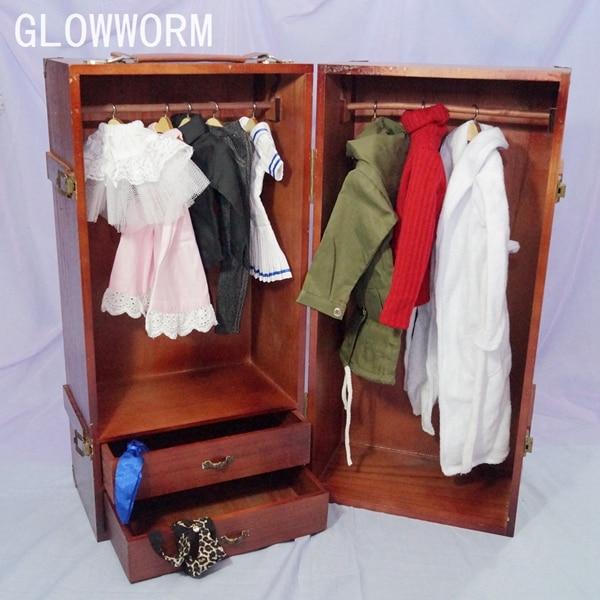 BJD Mini Furniture Wood Wardrobe Clothing Shows Box For 1 3 24 60cm 1 4 17