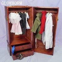 BJD Mini Furniture Wood Wardrobe Clothing Shows Box For 1/3 24 60cm 1/4 17 Tall BJD doll SD MSD SD17 DK DZ AOD DD Doll use