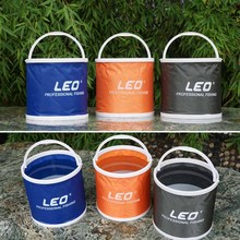 LEO Outdoor Bucket Lightweight Canvas Folding Bucket Portable Camping Hiking Fishing Bucket Fishing Tackle Tools 3 Colors