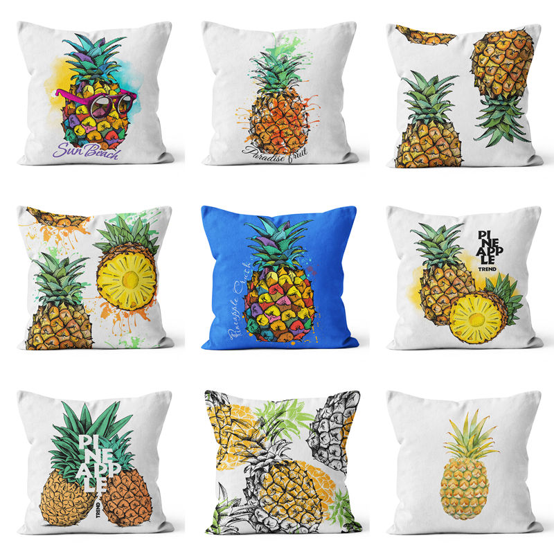 Watercolor Customized Cushion Covers Pineapple Flower Birds Custom Pillows Cover 24Styles Geometry Baby Sofa Decoration Gift