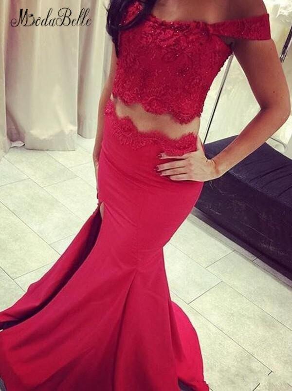 modabelle Red Mermaid   Prom     Dress   Vestidos De Fiesta De Noche Largos Elegantes High Slit 2 Piece   Prom     Dress   Balo Elbiseleri