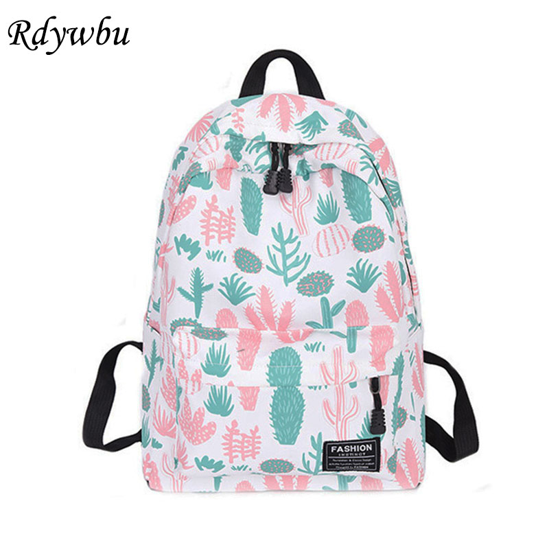 Rdywbu Cactus Strawberry Printing Backpack Women Casual Cereus Travel Bag Teenager Big Book Schoolbag Cute Mochila Rucksack B459