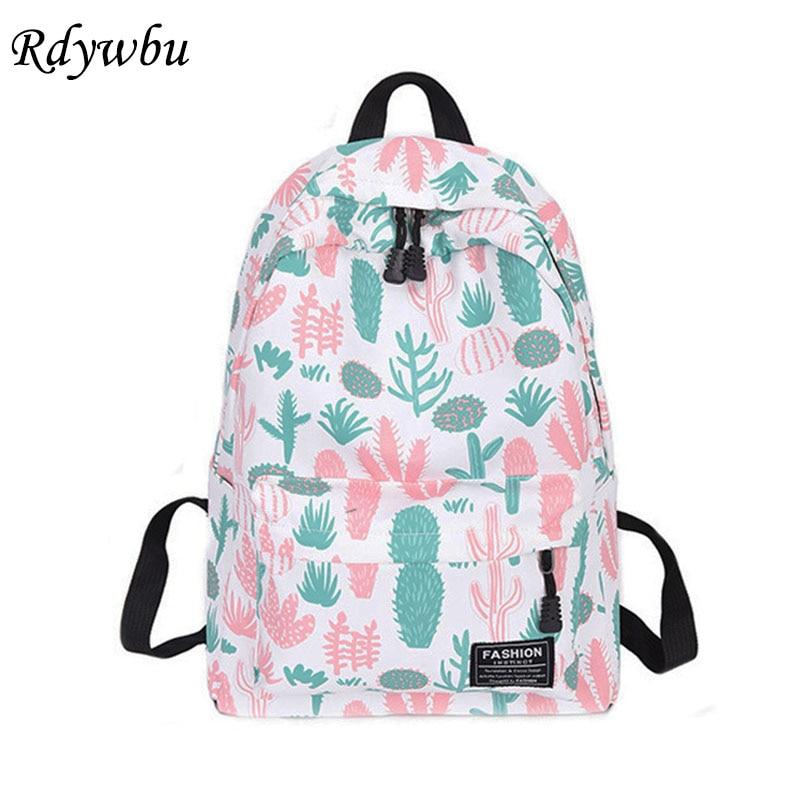 Rdywbu Cactus Strawberry Printing Backpack Women Casual Cereus Travel Bag Teenager Big Book Schoolbag Cute Mochila Rucksack B459