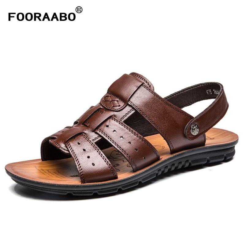 2018 Genuine Leather Men Sandals Summer Black Brown Handmade Men Shoes Breathable Beach Shoes for Men Male Shoes Big Size:38-47