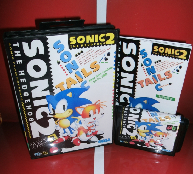 Sega games card - Sonic the Hedgehog 2 with box and manual for Sega MegaDrive Video Game Console 16 bit MD card