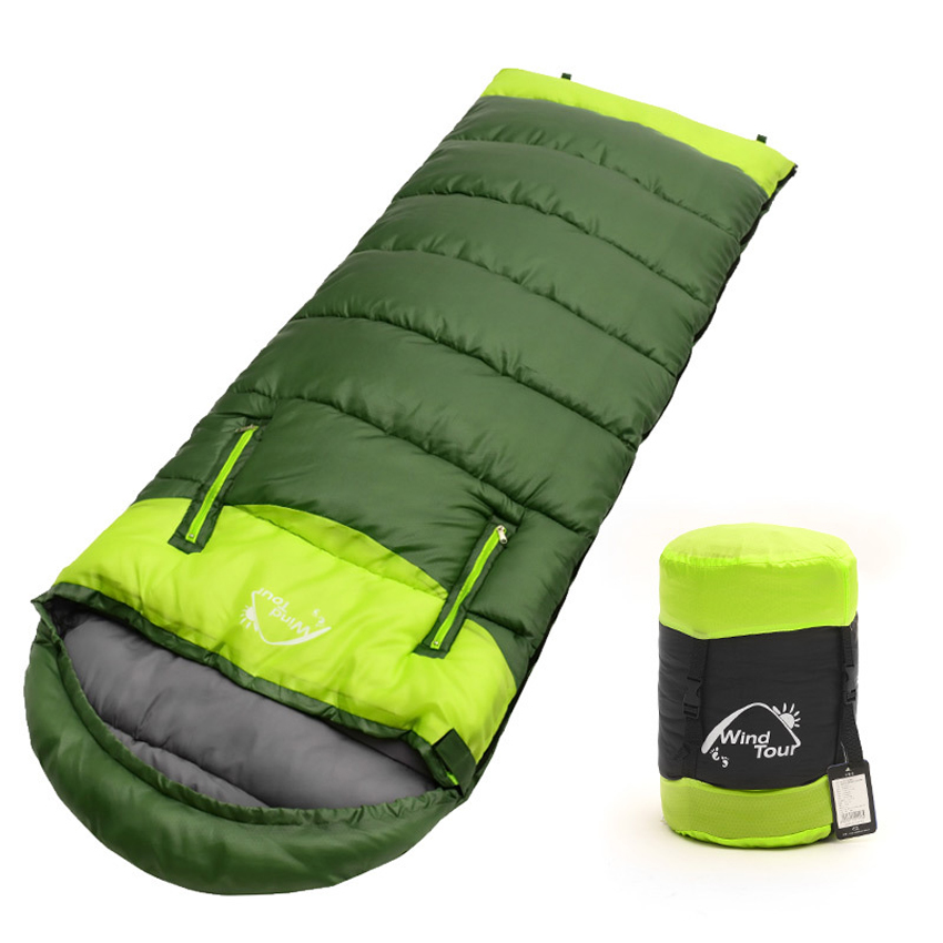 2017 Adults 3 Season Hollow Cotton Splicing Sleeping Bags Outdoor Sports Thick Hiking font b Camping
