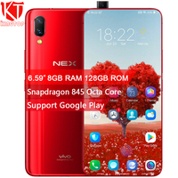 Global ROM VIVO NEX Mobile Phone 8GB 128GB Snapdragon 845 Octa Core 6.59 Fingerprint Screen Auto elevated Camera 4000mAh Phone