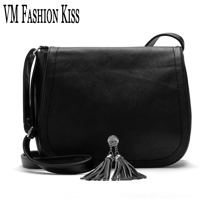 VM Fashion Kiss 2017 new Casual women message bags tassel decoration high quality PU small flap to keep with versatile 7colors with this kiss