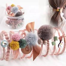 10pcs Fur Ball Elastic Girl Womens Ponytail Holders Plush Hair Ring Rope Tie Accessories Rubber HairBand