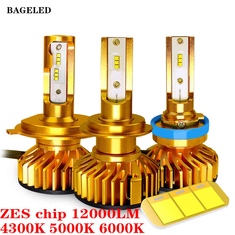 BAGELED Mini Size H4 Led H7 with ZES Chip 12000LM 72W H1 H3 HB3 9005 LED 9006 hb4 H8 H11 Fog Light 4300K 6500K 8000K 3000K