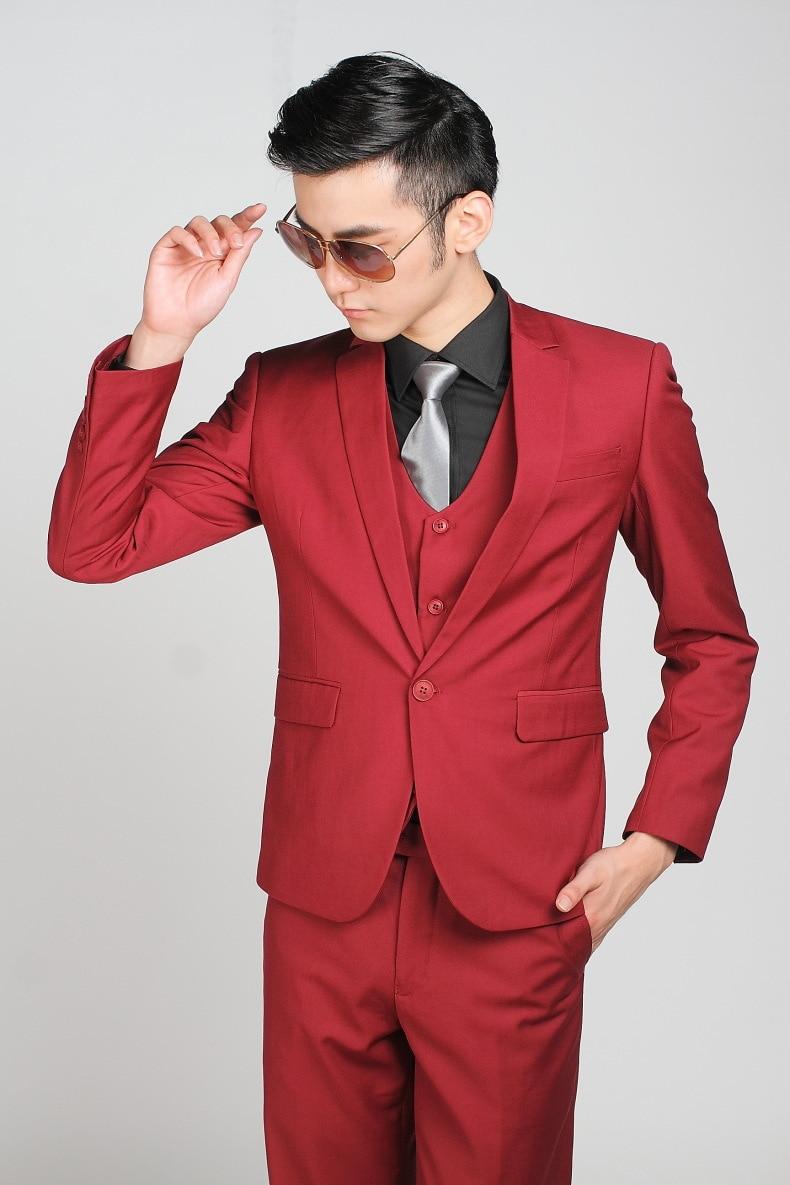 Rouge Costume Smoking Slim De Masculino Homme One Veste Vin Fit Pour Marié Mariage Hommes Ternos Formelle Button pantalon Costumes 7P8xqw