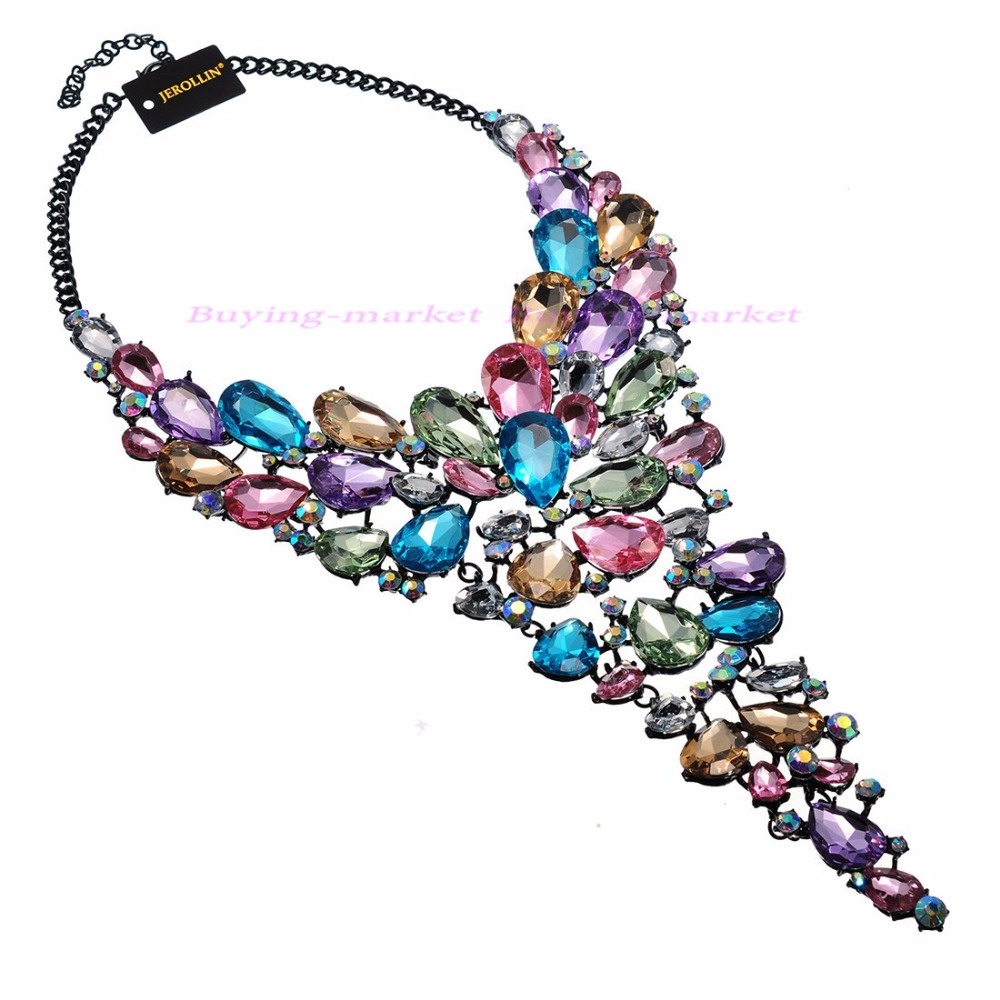 8 Colors Fashion Black Chain Crystal Acrylic Resin Choker Statement Pendant Bib Necklace цены