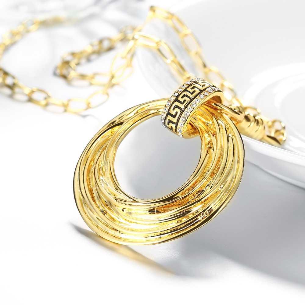 2018 حار الأزياء الفاخرة الذهب اللون جولة دائرة قلادة قلادة للنساء العرقية نمط المختنق سلسلة قلادة الكريستال مجوهرات