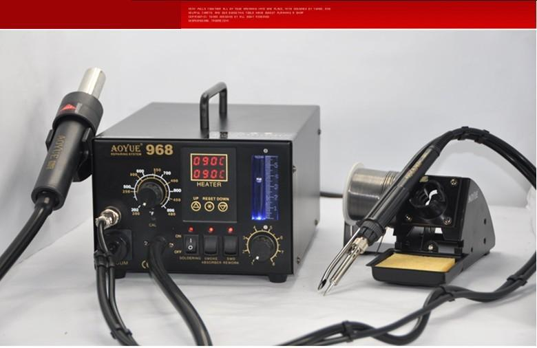 AOYUE-968 220V SMD/SMT 3 in 1 solder station Rework Station soldering hot air soldering rework station 550w smt hot air 2 in 1 bga rework solder station aoyue i852a with 4 nozzle ic remover suction pen
