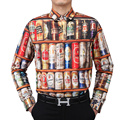 Fashion Hot Sales 2016 new Men's shirt Long Sleeve Shirt 3D Stacked Beer Bottles Cans funny shirt Brand design men clothing