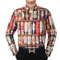 Moda de Las Ventas Calientes 2016 nuevos hombres de la camisa Camisa de Manga Larga 3D Apilados Latas Botellas de Cerveza divertida camiseta hombres del diseño de Marca ropa