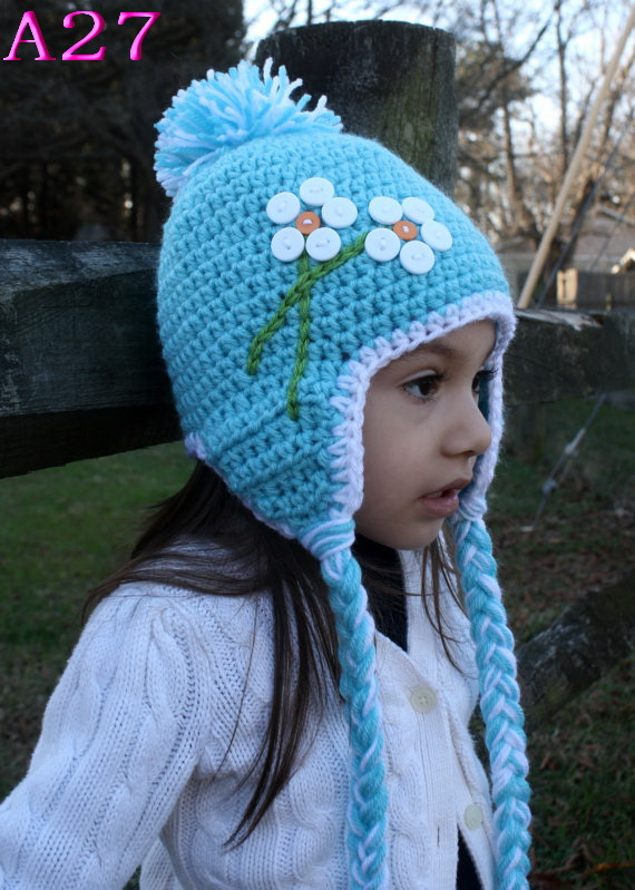 Free shipping Baby Hat Crocheted Flowers Earflap Hat Beanie Hat baby Photo Prop