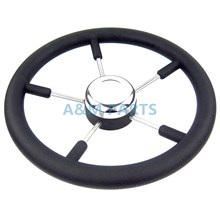 13-1/2″ Marine Steering Wheel PU Foam Stainless Steel Cap 5 Spoke 15 Degree Boat Steering Wheel
