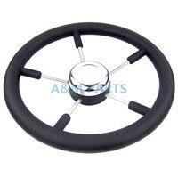 13 1 2 Marine Steering Wheel PU Foam Stainless Steel Cap 5 Spoke 15 Degree Boat