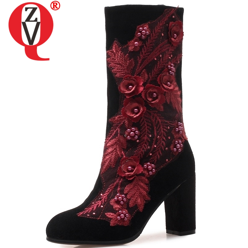 ZVQ size 34-43 women shoes 2018 winter new fashion sexy appliques super high square heel zip flock black party mid calf bootsZVQ size 34-43 women shoes 2018 winter new fashion sexy appliques super high square heel zip flock black party mid calf boots