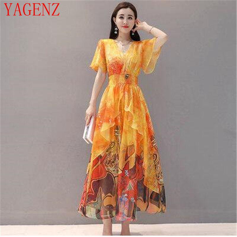 NEW vintage dress summer clothes High quality Plus size Women Chiffon long Dress Slim Lotus sleeve Elegant print dresses 1520 3