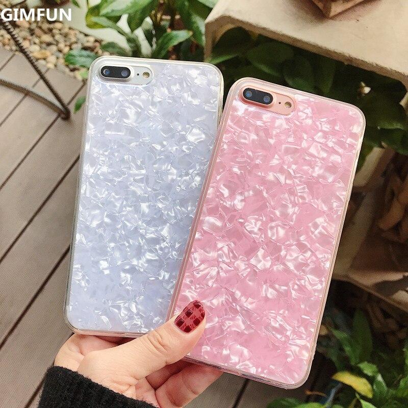 Gimfun Crystal Glitter Fritillaria Phone Case  Anti-knock Tpu Silicone Case for Iphone 7 7plus 8 66s 6plus X Soft  Back Cover