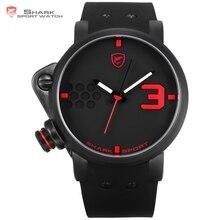 Salmón SHARK Reloj Deportivo Negro Rojo Analógico 3D Gran Reloj Ejército Movimiento de cuarzo Banda de Silicona Militar Reloj para Hombres Diseño/ SH517