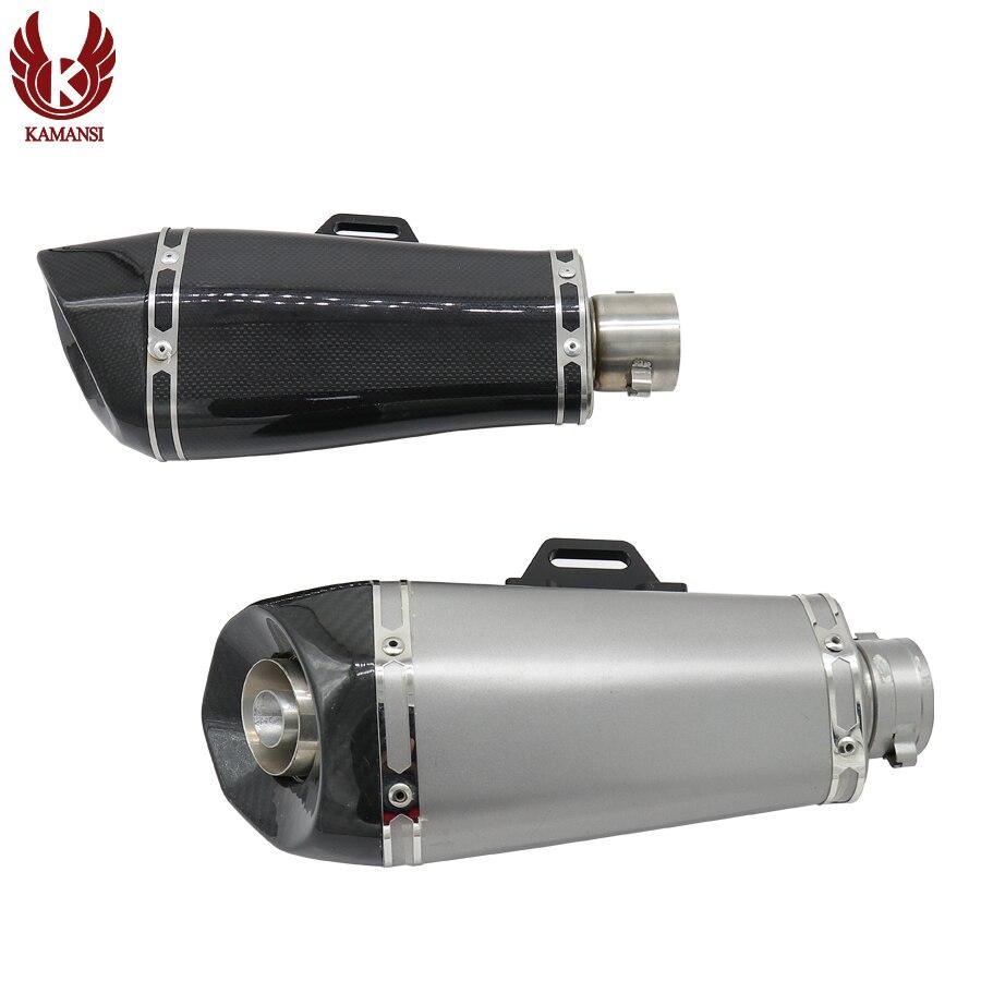 Gaz d'échappement de moto de brasage au carbone universel modifier l'échappement Akrapovic FZ6 CBR250 CB600 MT07 ATV