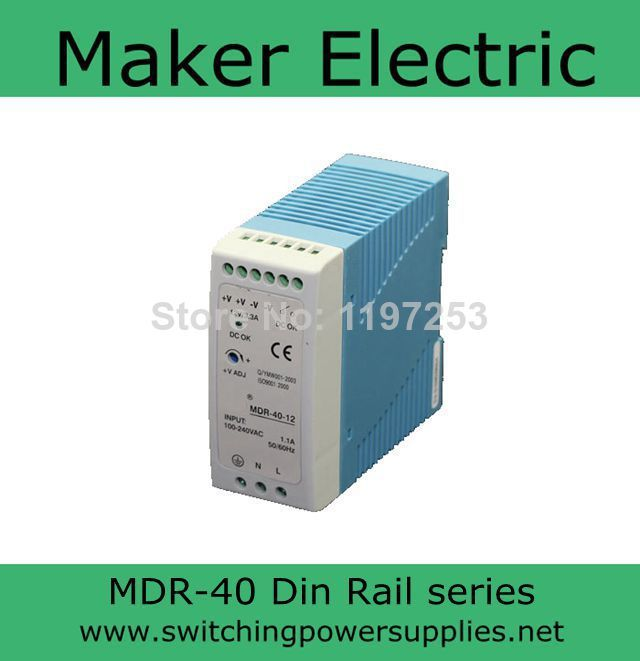 CE approved MINI Din Rail Single Output Switching power supply 12v MDR-40-12 40W