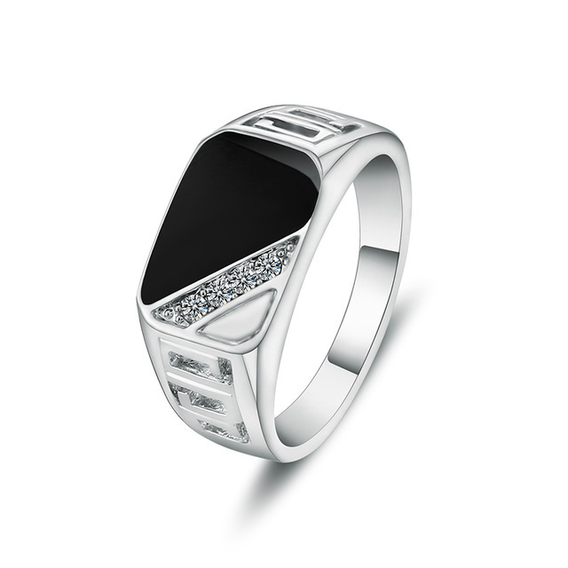 Fashion High quality enamel men s black alloy triangle square hollow out crystal  rhinestone rings popular europe style rings ad076a2c844e