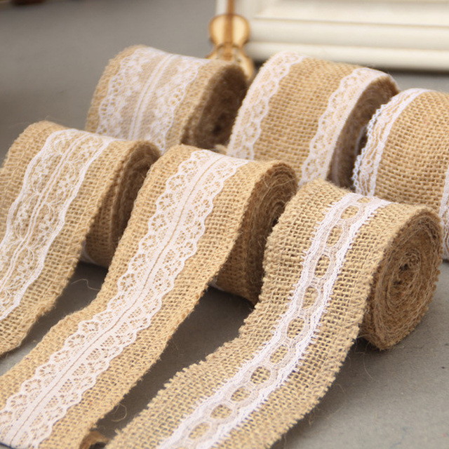 2Meter Jute Burlap Rolls Hessian Ribbon With Lace Roll Vintage Rustic Birthday Party Wedding Decoration