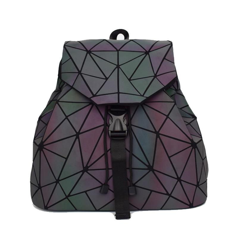 New Women Laser Backpack Geometric Shoulder Bag Student's School Bag Hologram Female Luminous Backpacks Silver Backpack Mochila