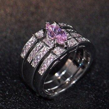 cedf1d47bd34 Nueva llegada Nueva joyería de moda Vintage 14KT oro blanco relleno Ojo de  caballo Rosa 5A Zirconia cúbica CZ mujer boda anillo de regalo