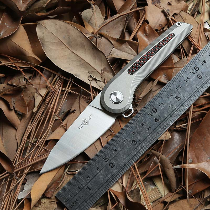 TWO SUN TS79 D2 blade Flipper ball brearing folding knife titanium camping hunting Pocket knives outdoor gear Survival EDC ToolTWO SUN TS79 D2 blade Flipper ball brearing folding knife titanium camping hunting Pocket knives outdoor gear Survival EDC Tool