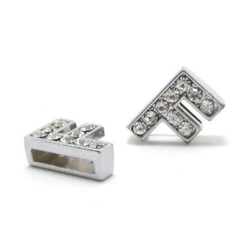 A-Z, 8 мм, стразы, кулон, буквы, подходят для DIY, подарок, шарм, кожаный браслет, браслет, пояс, ожерелье, ювелирные аксессуары - Окраска металла: F