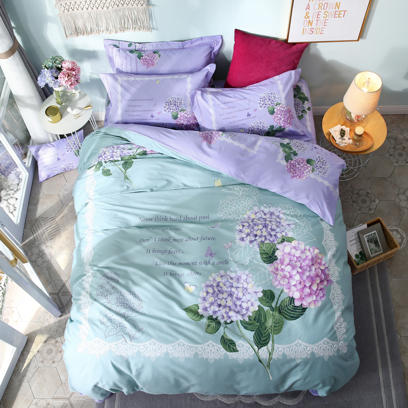 Flowers Bedding Set 4pcs Queen & King Size Cotton Printed Duvet Cover Bed Sheets with Pillow CaseFlowers Bedding Set 4pcs Queen & King Size Cotton Printed Duvet Cover Bed Sheets with Pillow Case