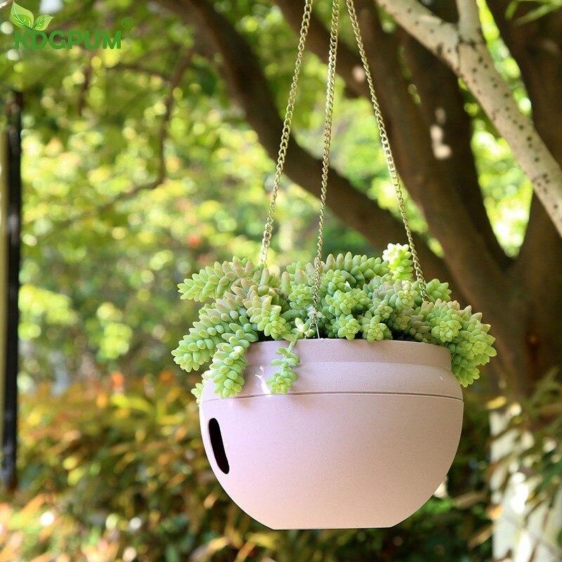 Plastic Originality Hanging Baskets Pots Self Watering Flower Pot Garden Plant Planter Flowerpot Match Chain Balcony Decoration