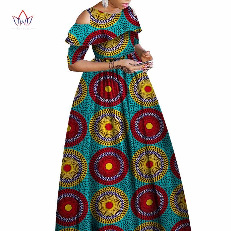 Eté automne robes africaines pour femmes Ankara vêtements volants col Batik cire imprimé demi manches Maxi robe WY1864