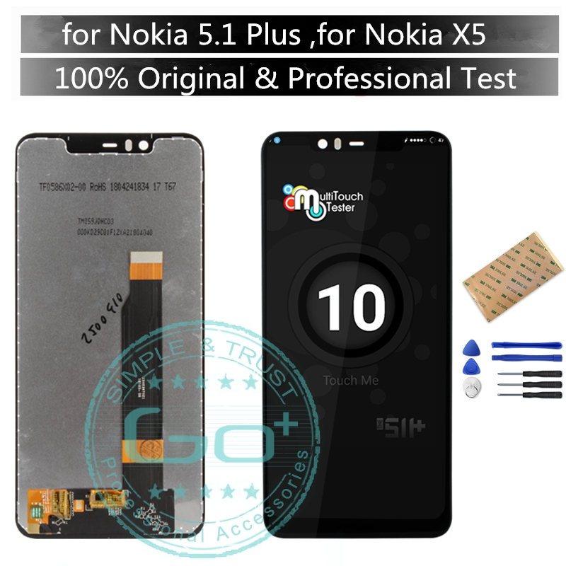 Original For Nokia X5 5 1 Plus LCD Display Screen Touch for Nokia 5 1Plus Display