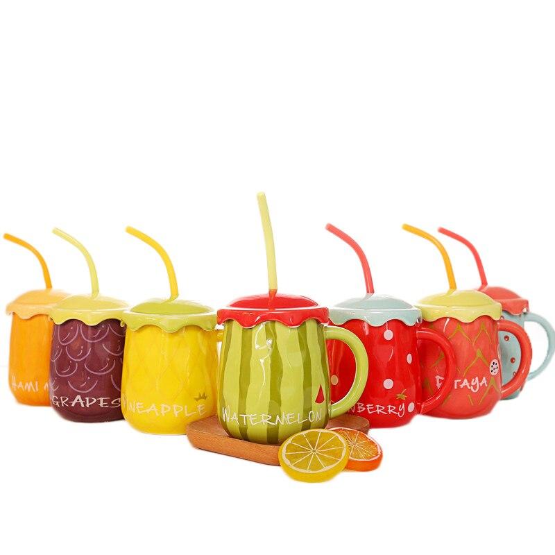 Creativo Forma di Frutta In Ceramica Tè Tazza di Latte Tazza Del Fumetto Disegno Colorato Drinkware Tazza Con Paglia Anguria Bello Scoop 3 pz/set