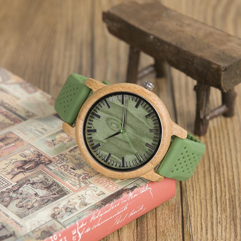 BOBO BIRD Bamboo Silicone Wristwatch W-B06