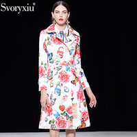 Svoryxiu Runway Custom Big Size Long Trench Coat Women's Butterfly Floral Print Jacquard Slim Winter Elegant Casacos Femininos