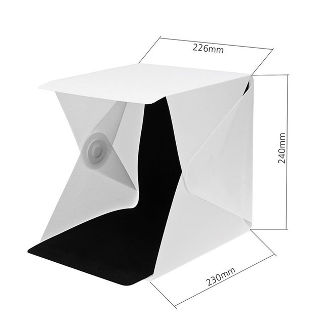 Cool Stuff New Design Fixed by Button 2 LED Line Mini Lightbox Studio Photo Photography Tent Kit with Black White Backgrond USB LED light 4