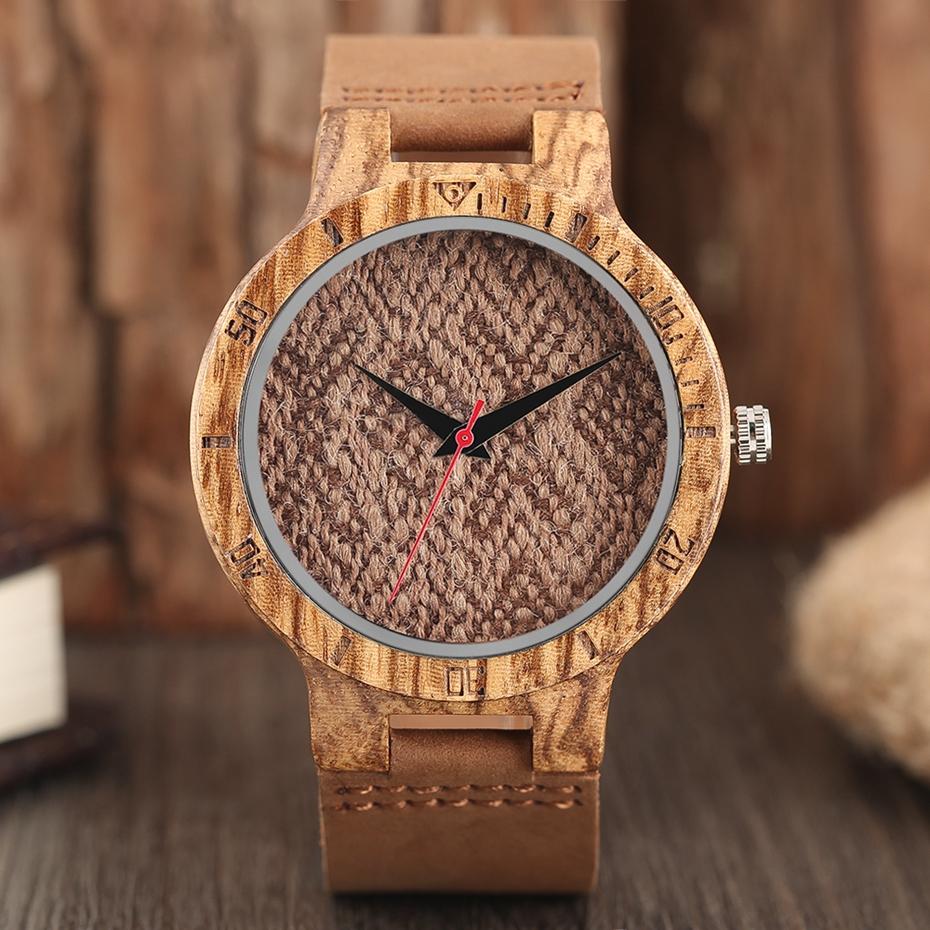 Unique Stripes Lines Dial Wooden Watch Mens Bamboo Creative Quartz Clock Genuine Leather Bangle Reloj de madera 2017 New Fashion  (42)