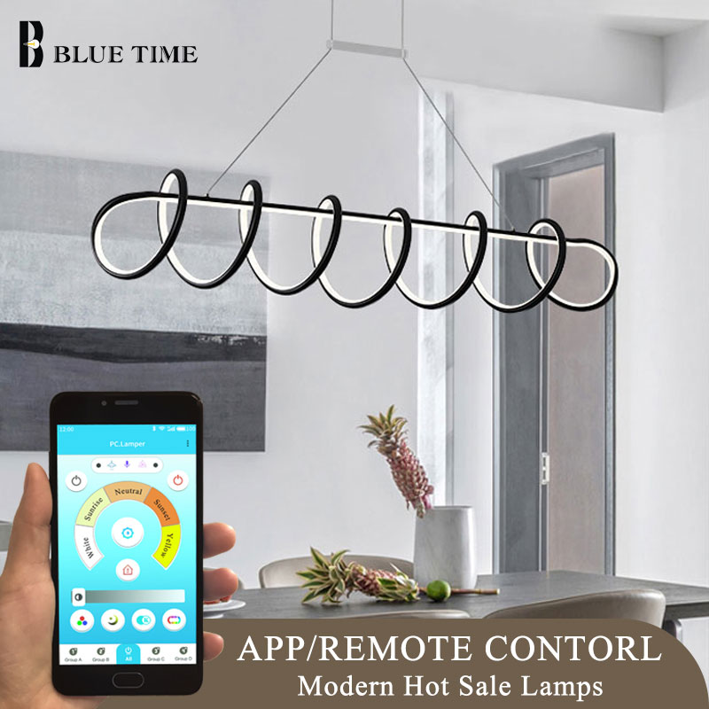 Smartphone Control Modern Led Chandelier Black&White Hanging Lamp 220V Creative Led Chandelier Lighting For Dining room Kitchen