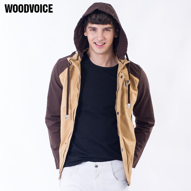 Woodvoice Hot Sale High Quality Hooded Jacket Youth Fashion Design Outwear Jacket Colors Stitching Coat For Male Free Shipping