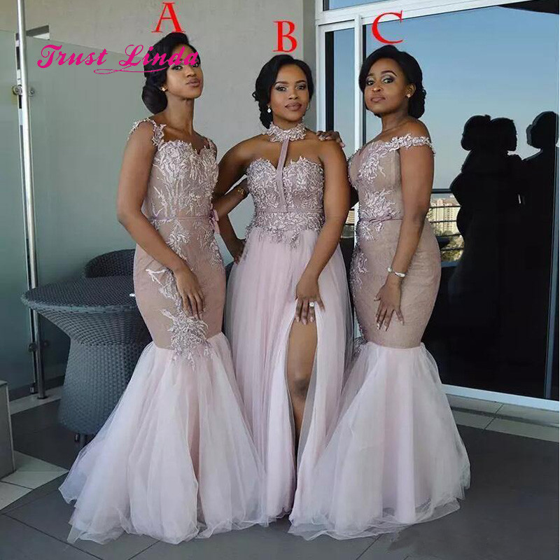 Black Girl Bridesmaid Dresses Appliques Sweetheart Mermaid African Bridesmaids Dresses For Women Brautjungfernkleid girl