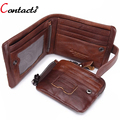 CONTACT'S Genuine Leather Men Wallets Male Purse Designer Credit Card Holder Large Capacity Clutches Famous Brand 2016