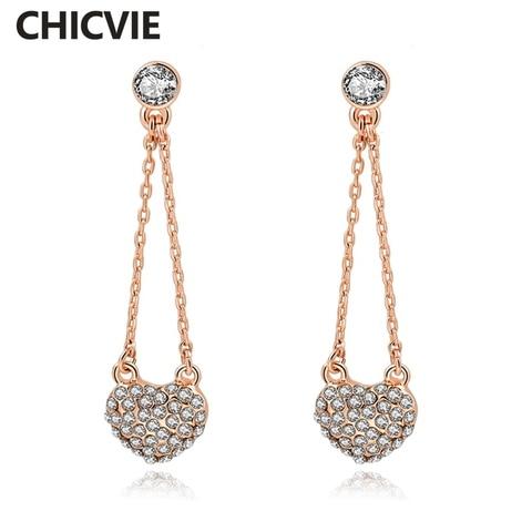 Купить женские винтажные серьги капли в форме сердца chicvie длинные